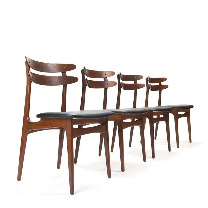 Set of 4 Danish stylish teak vintage chairs