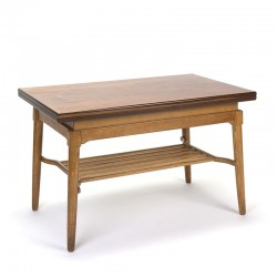 Danish vintage foldable elevator table in teak and oak