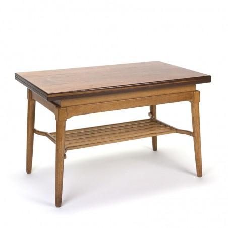 Danish vintage foldable elevator table in teak and oak