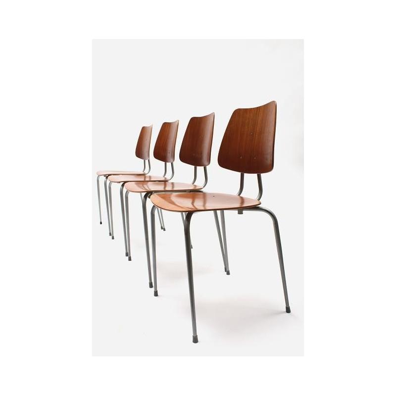Set van 4 Deense school stoelen