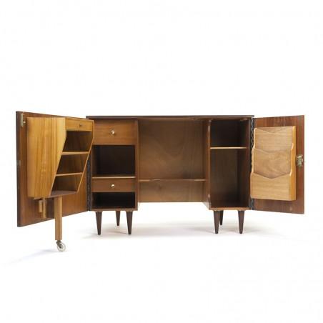 Teak vintage fold-out desk cabinet