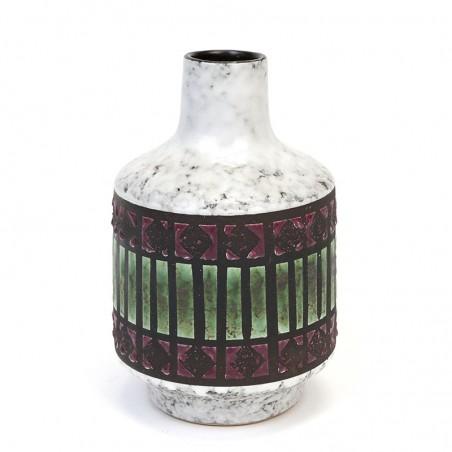 West Germany vintage vase with green detail