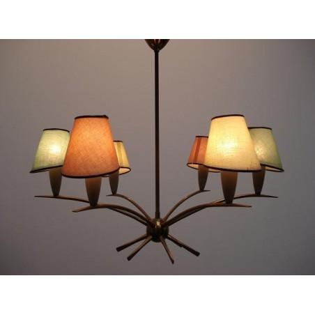 Jaren 50 hanglamp met gekleurde kapjes