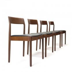 Set van 4 luxe Deense teakhouten vintage eettafel stoelen