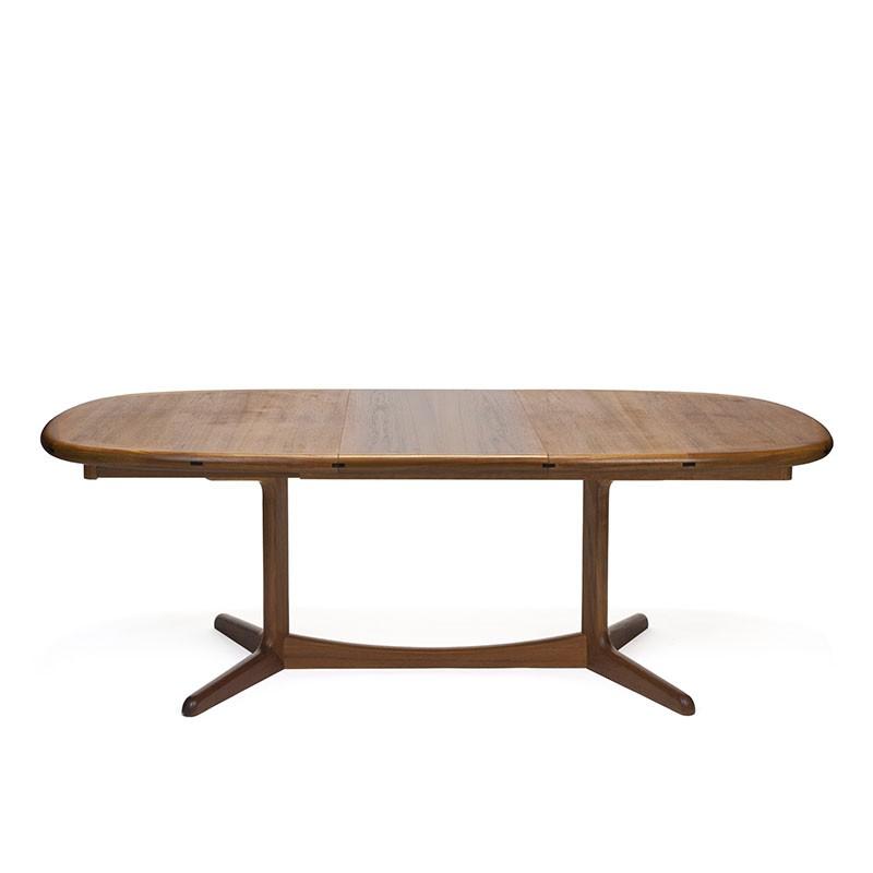 Large model oval vintage design dining table in teak