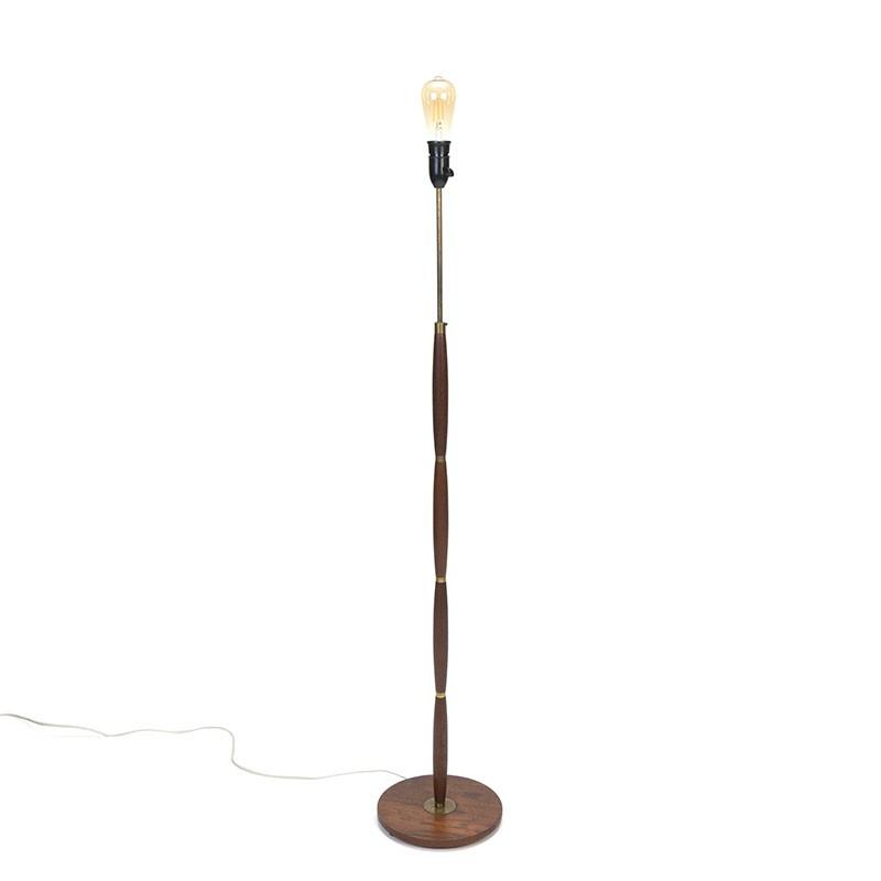 Floor lamp teak with brass vintage Danish model