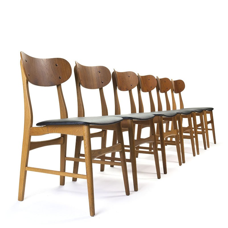 Danish set of 6 vintage dining table chairs