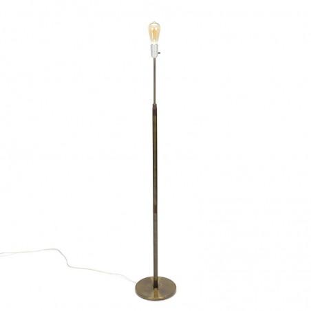 Danish vintage brass floor lamp with rosewood detail