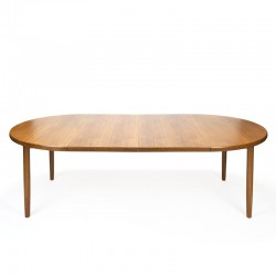 Danish teak round vintage dining table with 2 extra sheets