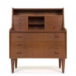 Teakhouten Deense vintage mid-century secretaire