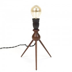 Danish vintage teak table lamp on 3 legs