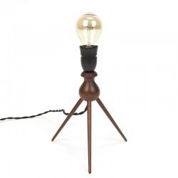 Deens vintage teakhouten tafellampje op 3 poot