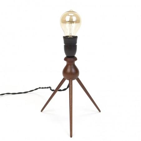 Danish vintage teak table lamp on 3 legs
