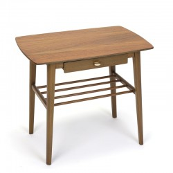 Danish vintage side table in teak and beech with small drawer