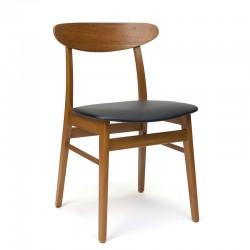 Deense vintage eettafel stoel in teak met zwarte zitting