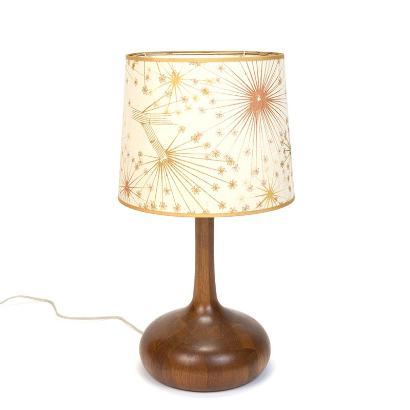 Danish vintage table lamp in teak with original shade