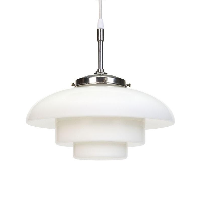 Scandinavische opaal glazen vintage hanglamp