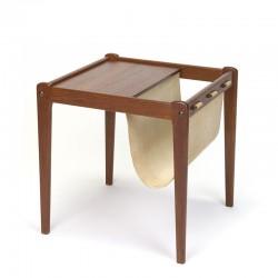 Vintage Danish side table with jute newspaper rack