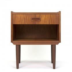 Teak Danish vintage bedside table with drawer