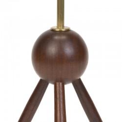 Groot model Deense vintage teakhouten tafellamp op 3 poot