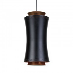 Danish vintage hanging lamp in black metal and copper