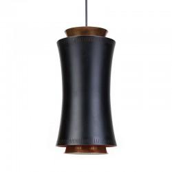 Deense vintage hanglamp in zwart metaal en koper