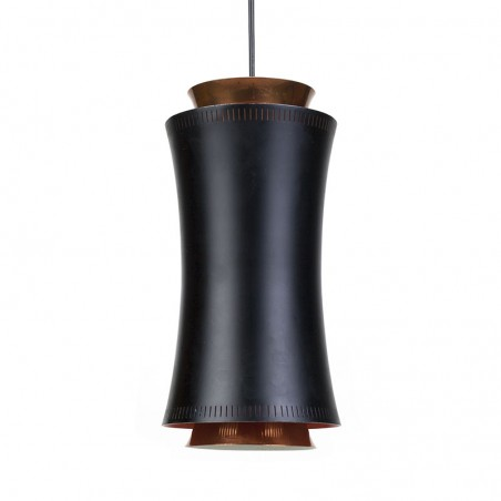 Danish vintage hanging lamp in black metal and copper
