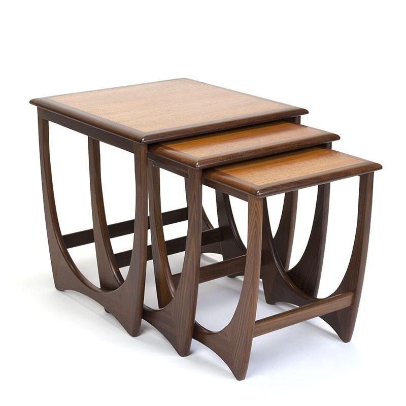 Vintage set of nesting tables in teak design Victor Wilkins