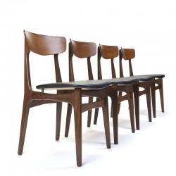 Deense set van 4 vintage Schiønning en Elgaard stoelen in teak