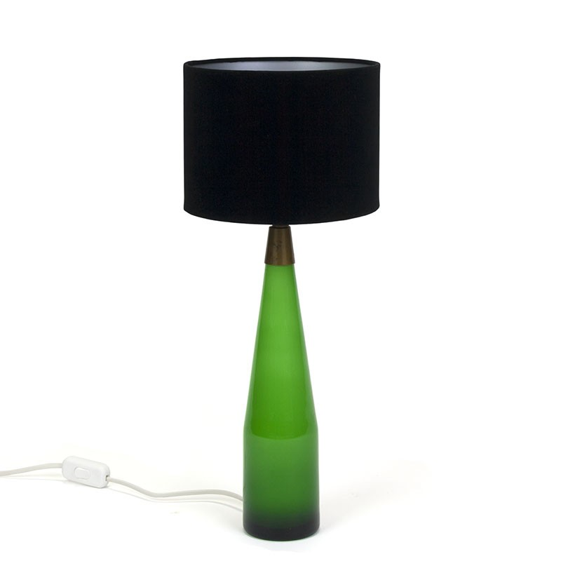 Danish vintage table lamp with green glass base