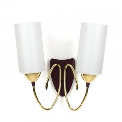 Italian vintage wall lamp with milk glass and brass