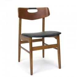 Deense vintage eettafel stoel met omwikkelde handgreep