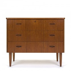 Low model vintage Danish teak chest of drawers