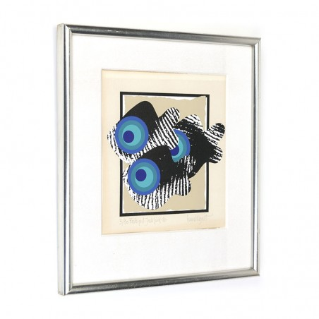 Small vintage silk screen with pop art fish