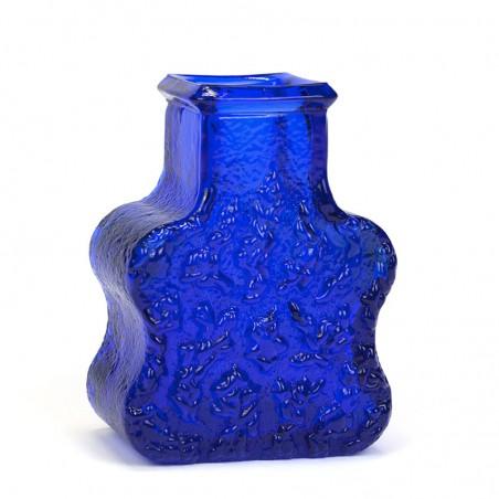 Swedish vintage blue glass vase design Lars Hellsten