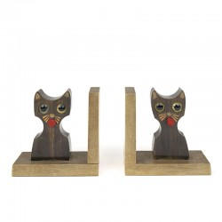 Vintage wooden bookends cat