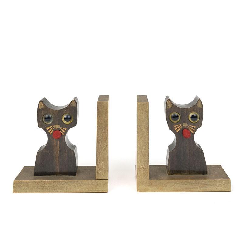 Vintage wooden bookends cat