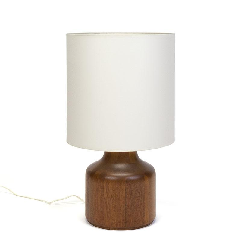 Large model Danish solid teak vintage table lamp
