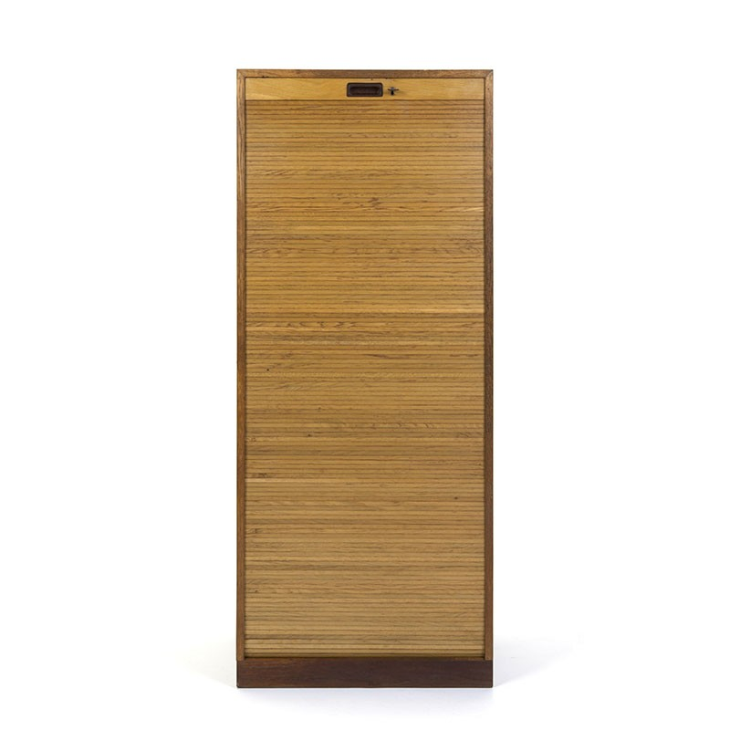 Large model vintage Danish filing cabinet in oak and teak