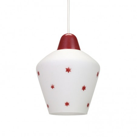Glass vintage Philips hanging lamp with red stars