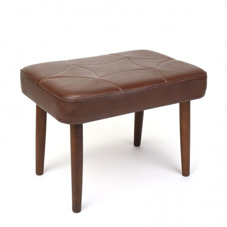 Danish vintage ottoman or pouf in brown leatherette