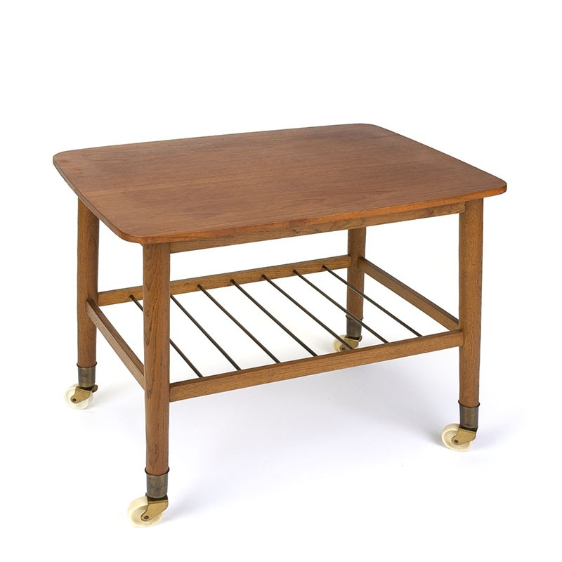 Teak vintage Danish side table on wheels