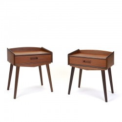 Set of teak Danish vintage bedside tables