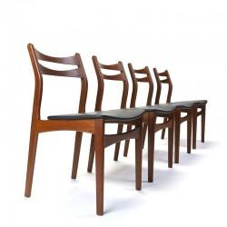 Vintage set van 4 luxe Deense teakhouten eettafel stoelen