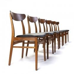 Vintage set van 6 Deense eettafel stoelen jaren zestig