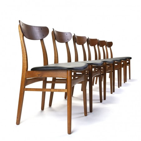 Vintage set of 6 Danish dining table chairs from the sixties