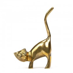 Small vintage model cat in brass
