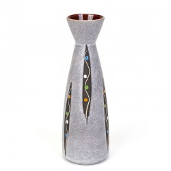 Gray vintage West Germany vase with dot design