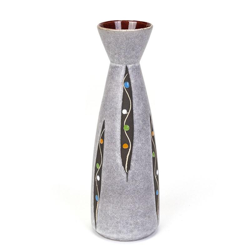 Gray vintage West Germany vase with dot design