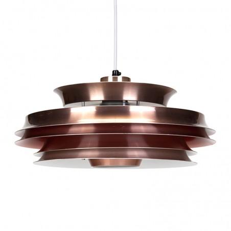 Danish red copper vintage hanging lamp